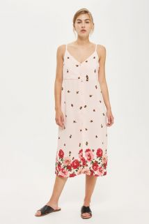TOPSHOP PALE PINK FLORAL BORDER PRINT MIDI SUMMER SLIP DRESS SIZES UK 6 8 10 12 14